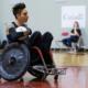 Trevor Hirschfield carries the Wheelchair Rugby ball