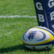 BC rugby Ball against post