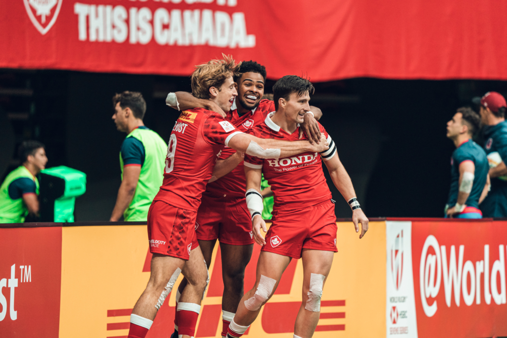 Canada's Men's Sevens team celebrates a try