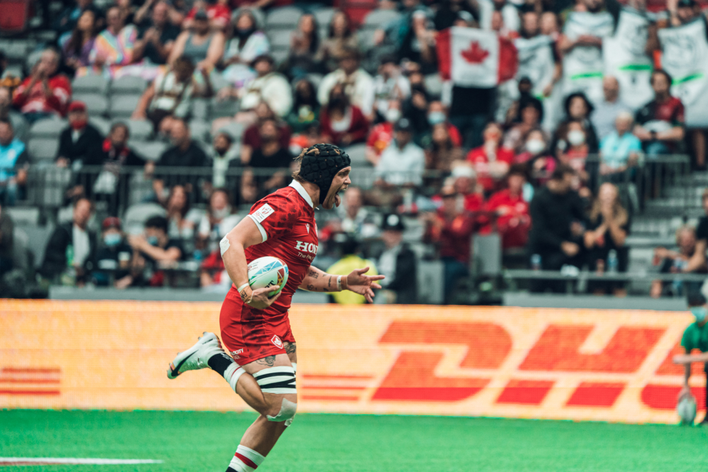 BC's Jake Thiel crosses the line for a try at BC Place