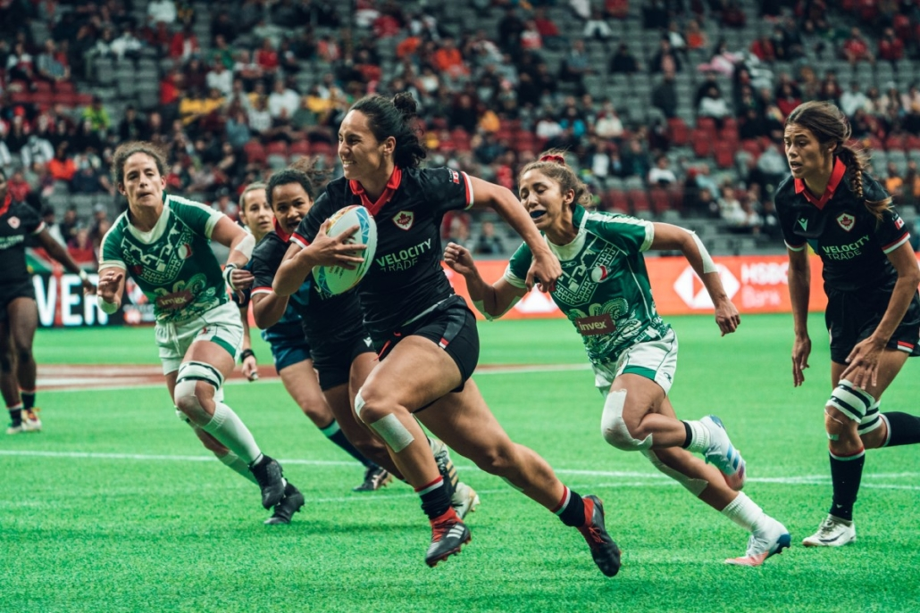 Canada's Women's Sevens score a try against Mexico in Vancouver