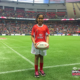 A HSBC Ball Carrier holds the ball at Canada 7s